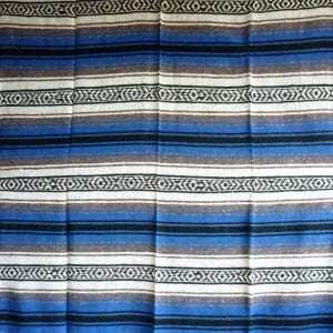 Mexican Falsa Blanket Dark Blue Grey No1