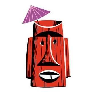 Poster Pop Shag Red Tiki Mug Sticker SHS73
