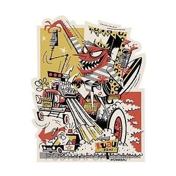 Poster Pop Derek Yaniger Late For The Luau Sticker DYS34