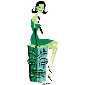 Poster Pop Shag Woman On Tiki Sticker SHS62
