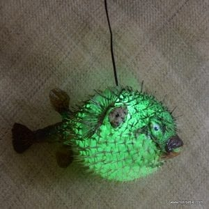 Extra Large Puffer Fish Lamp Green 1