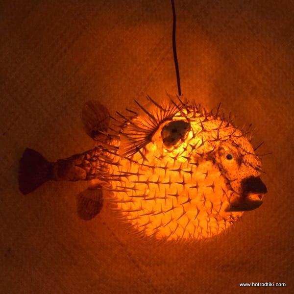 Extra Large Puffer Fish Lamp Orange 3