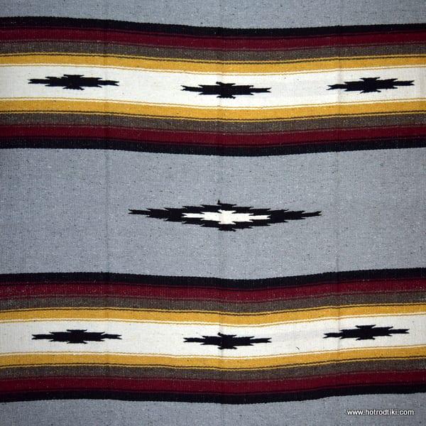 Mexican Blanket - Diamond Design No 03 - Grey, Brown & Mustard