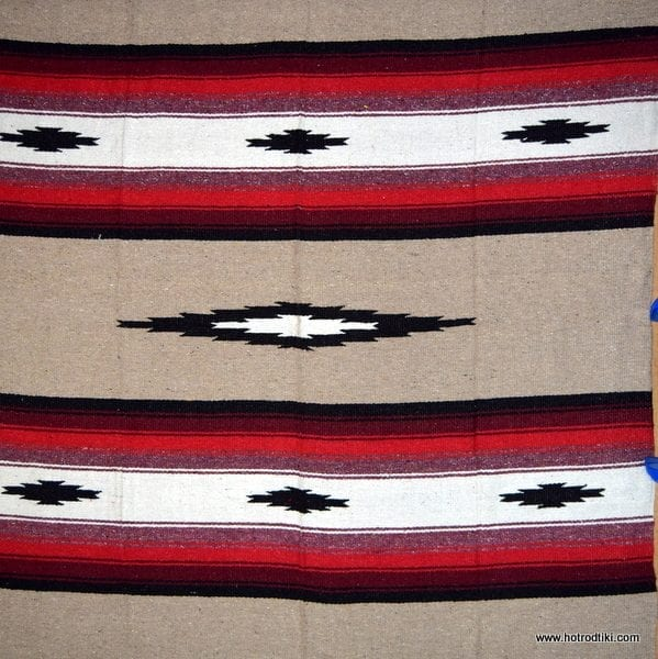 Mexican Blanket - Diamond Design No 04 - Beige, Red & Black