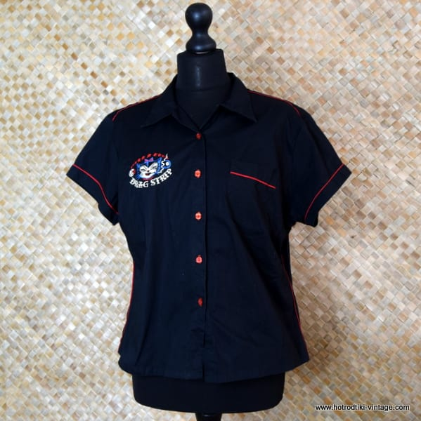 Vintage Style Ladies Route 66 Dragstrip Black Blouse 1